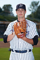 Pulaski Yankees pitcher Mitch Spence (38) poses for a photo prior to the game against the Danville Braves at Calfee Park on June 30, 2019 in Pulaski, Virginia. The Braves defeated the Yankees 8-5 in 10 innings.  (Brian Westerholt/Four Seam Images)