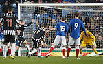 Stewart Leslie gets a touch and puts the ball towards Neil ALexander and a scrable in the box leads to Elgin's goal