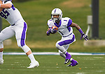 8 October 2016: Amherst College Purple & White Running Back Myles Gaines, a Senior from Bridgeport, CT, in action against the Middlebury College Panthers at Alumni Stadium in Middlebury, Vermont. The Panthers edged out the Purple & While 27-26. Mandatory Credit: Ed Wolfstein Photo *** RAW (NEF) Image File Available ***