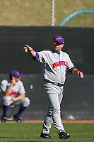 March 6 2009: Wes Carroll of the Evansville Purple Aces in action against the Pepperdine Waves at Eddy D. Field Stadium in Malibu,CA.  Photo by Larry Goren/Four Seam Images