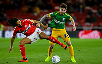 Preston North End's Sean Maguire vies for possession with Middlesbrough's Ryan Shotton<br /> <br /> Photographer Alex Dodd/CameraSport<br /> <br /> The EFL Sky Bet Championship - Middlesbrough v Preston North End - Wednesday 13th March 2019 - Riverside Stadium - Middlesbrough<br /> <br /> World Copyright &copy; 2019 CameraSport. All rights reserved. 43 Linden Ave. Countesthorpe. Leicester. England. LE8 5PG - Tel: +44 (0) 116 277 4147 - admin@camerasport.com - www.camerasport.com