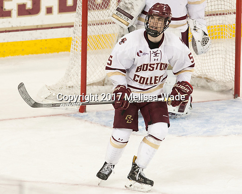Casey Fitzgerald (BC - 5) - The Boston College Eagles defeated the visiting UConn Huskies 2-1 on Tuesday, January 24, 2017, at Kelley Rink in Conte Forum in Chestnut Hill, Massachusetts.