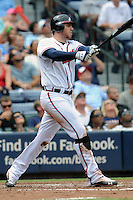 Atlanta Braves first baseman Freddie Freeman #5 swings at a pitch during a game against the Colorado Rockies at Turner Field on September 3, 2012 in Atlanta, Georgia. The Braves  defeated the Rockies 6-1. (Tony Farlow/Four Seam Images).