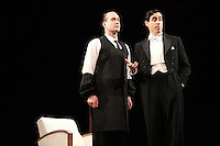 Matthew Macfadyen (as Jeeves) and Stephen Mangan (as Bertie Wooster) star in 'Perfect Nonsense' at the Duke Of York's Theatre, London - November 5th 2013<br /> <br /> Photo by Keith Mayhew