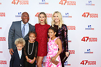 "LOS ANGELES - JUN 12:  Byron Allen, Claire Holt, Jennifer Lucas, Olivia Allen, Chloe Allen, Lucas Allen at the ""47 Meters Down"" Premiere at the Village Theater on June 12, 2017 in Westwood, CA"