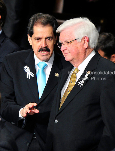 United States RepresentativeS José E. Serrano (Democrat of New York) and Hal Rogers (Republican of Kentucky) share some thoughts prior to U.S. President Barack Obama's State of the Union Address to a Joint Session of Congress in the U.S. Capitol in Washington, D.C. on Tuesday, January 25, 2011..Credit: Ron Sachs / CNP.(RESTRICTION: NO New York or New Jersey Newspapers or newspapers within a 75 mile radius of New York City)