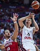 7th September 2017, Fenerbahce Arena, Istanbul, Turkey; FIBA Eurobasket Group D; Latvia versus Turkey; Power Forward Kristaps Porzingis #6 of Latvia in action against Center Semih Erden of Turkey