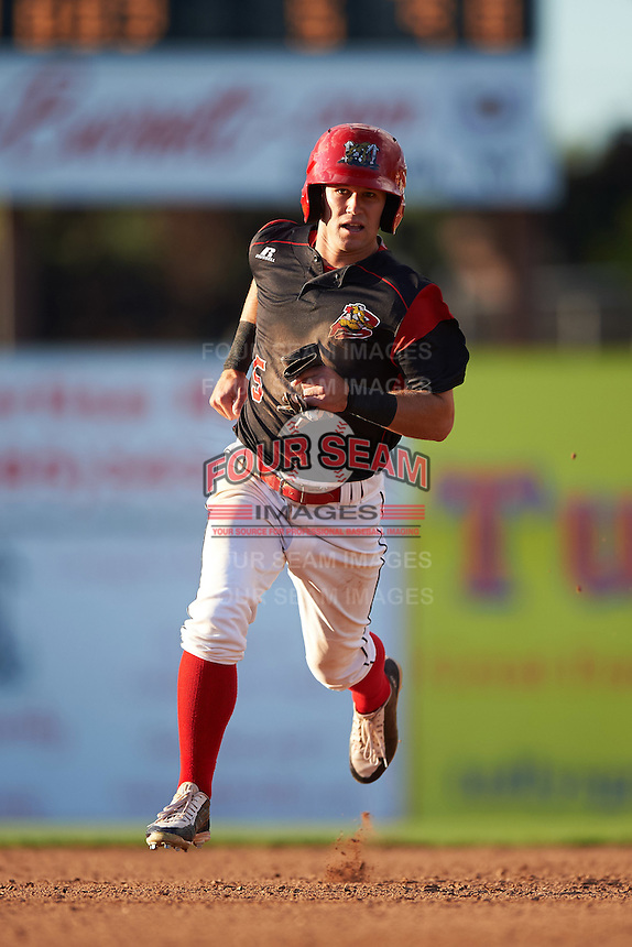Batavia Muckdogs right fielder Aaron Knapp (5) running the bases during a game against the West Virginia Black Bears on August 21, 2016 at Dwyer Stadium in Batavia, New York.  West Virginia defeated Batavia 6-5. (Mike Janes/Four Seam Images)