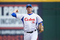 Cuban National Team pitcher Lazaro Blanco Matos (79) warms up in the bullpen during the game against the US Collegiate National Team at BB&T BallPark on July 4, 2015 in Charlotte, North Carolina.  The United State Collegiate National Team defeated the Cuban National Team 11-1.  (Brian Westerholt/Four Seam Images)