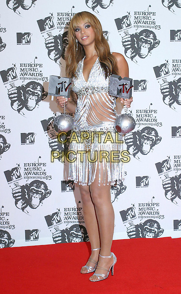 BEYONCE KNOWLES.MTV Europe Music Awards 2003 Held At The Western Harbour, Leith, Edinburgh, Scotland.Ref: Ten.full length, full-length, awards, silver, trophy.www.capitalpictures.com.sales@capitalpictures.com.©Capital Pictures