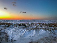 Snow and ice covers the Delaware Bay Friday, January 05, 2018 in Villas, New Jersey. (Photo by William Thomas Cain/Cain Images)