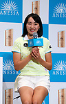 May 28, 2018, Tokyo, Japan - Japanese female professional golfer Momoka Miura smiles as she is sponsored by Japanese cosmetics giant Shiseido at a press conference at Shiseido's headquarters in Tokyo on Monday, May 28, 2018. She signed a sponsorship contract with Shiseido's sunblock brand Anessa on may 28.   (Photo by Yoshio Tsunoda/AFLO) LWX -ytd-