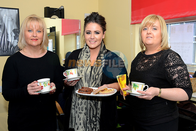Jennifer Lennon, Stephanie Smith and Gillian Smyth at the Cut Above Coffee fundraiser for the Chance for Alice campaign. www.newsfile.ie