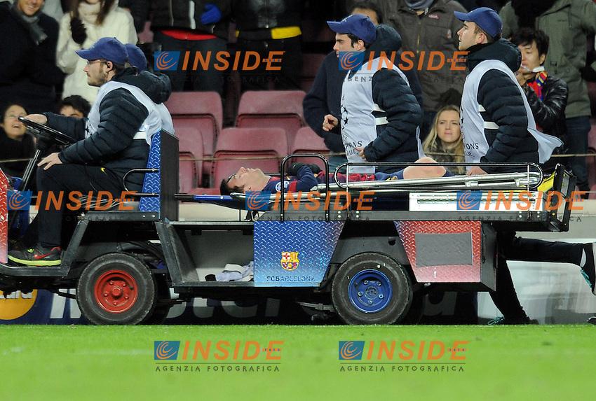 Infortunio di Lionel Messi Barcellona.Barcellona 6/12/2012 Stadio Nouc Camp.Football Calcio 2012/2013 Champions League.Barcellona Benfica.Foto Paco Larco / Panoramic / Insidefoto.ITALY ONLY