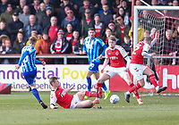 Fleetwood Town's Callum Connolly and Glenn Whelan combine to block Blackpool's Connor Ronan shot<br /> Photographer Lee Parker/CameraSport<br /> <br /> The EFL Sky Bet League One - Fleetwood Town v Blackpool - Saturday 7th March 2020 - Highbury Stadium - Fleetwood<br /> <br /> World Copyright © 2020 CameraSport. All rights reserved. 43 Linden Ave. Countesthorpe. Leicester. England. LE8 5PG - Tel: +44 (0) 116 277 4147 - admin@camerasport.com - www.camerasport.com