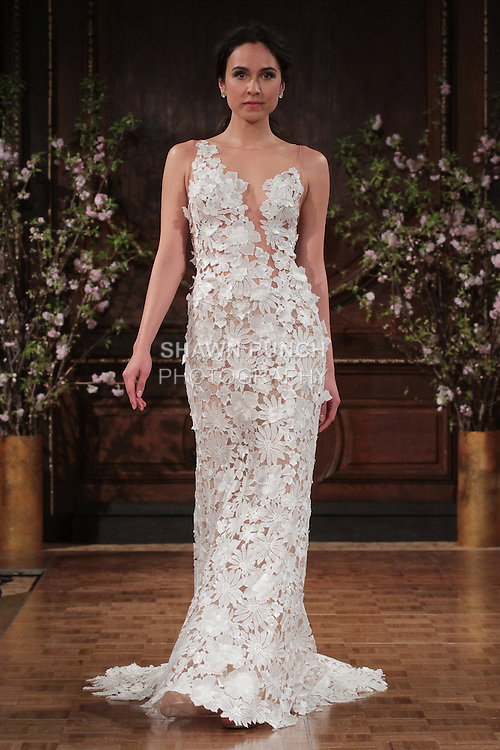 "Model walks runway in a ""Skyler"" bridal gown from the Isabelle Armstrong Spring Collection 2017, at Lotte New York Palace Hotel, during New York Bridal Fashion Week Spring Summer 2017 on April 16, 2017."
