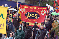 PCS Banner on Right To Work Demo Birmingham Oct 2010