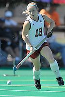 Stanford, CA - SEPTEMBER 27:  Forward Marlana Shile #19 of the Stanford Cardinal during Stanford's 7-0 win over the Pacific Tigers on September 27, 2008 at the Varsity Field Hockey Turf in Stanford, California.