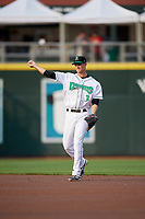 Dayton Dragons second baseman Brantley Bell (3) throws to first base during a game against the Cedar Rapids Kernels on May 10, 2017 at Fifth Third Field in Dayton, Ohio.  Cedar Rapids defeated Dayton 6-5 in ten innings.  (Mike Janes/Four Seam Images)