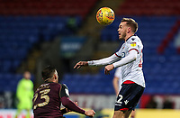 Bolton Wanderers' Craig Noone heads under pressure from Swansea City's Connor Roberts <br /> <br /> Photographer Andrew Kearns/CameraSport<br /> <br /> The EFL Sky Bet Championship - Bolton Wanderers v Swansea City - Saturday 10th November 2018 - University of Bolton Stadium - Bolton<br /> <br /> World Copyright © 2018 CameraSport. All rights reserved. 43 Linden Ave. Countesthorpe. Leicester. England. LE8 5PG - Tel: +44 (0) 116 277 4147 - admin@camerasport.com - www.camerasport.com