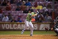 Eugene Emeralds designated hitter Luke Reynolds (4) at bat in front of catcher Will Albertson (1) during a Northwest League game against the Salem-Keizer Volcanoes at Volcanoes Stadium on August 31, 2018 in Keizer, Oregon. The Eugene Emeralds defeated the Salem-Keizer Volcanoes by a score of 7-3. (Zachary Lucy/Four Seam Images)