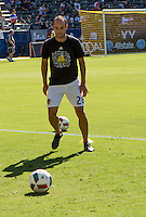 Carson, CA - September 11, 2016: The LA Galaxy take on Orlando City SC as Landon Donovan warms up in a Major League Soccer (MLS) match at StubHub Center.