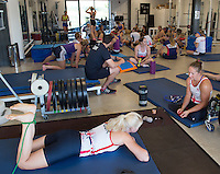 Caversham, Reading, . United Kingdom.   Pam RELPH, Rachel MORRIS Lauren ROWLES,, Stretch session in the gym before their morning training session on the lake. GBRowing team, Media day for Paralympic  Team  to compete at the  2016 Rio Games.   Tuesday  19/07/2016,         [Mandatory Credit Peter Spurrier/Intersport Images]