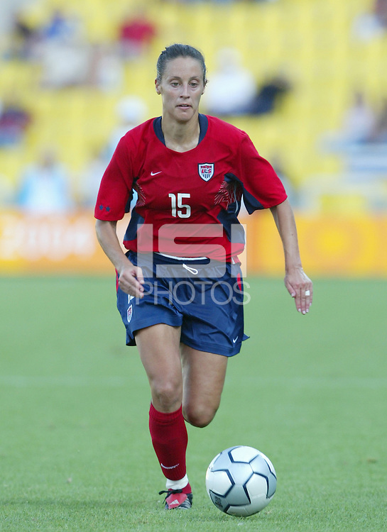 14 August 2004: USA Kate Markgraf in action against Brazil at Kaftanzoglio Stadium in Thessaloniki, Greece.   USA defeated Brazil, 2-0. Credit: Michael Pimentel / ISI