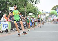 INLINESKATEN: HALLUM: 07-09-2013, KPN Dutch Open Inline 100km, Winnaar Gary Hekman, ©foto Martin de Jong