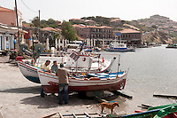 The port of Molivos, Lesbos Island, Greece