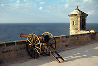 View of the Gulf of Mexico from Fuerte San Miguel, Campeche, Mexico. This Spanish Colonial fort was built to protect the city of Campeche from naval attack. It now houses the Museo de Cultura Maya, an archaeological museum with Mayan artifacts from the state of Campeche.
