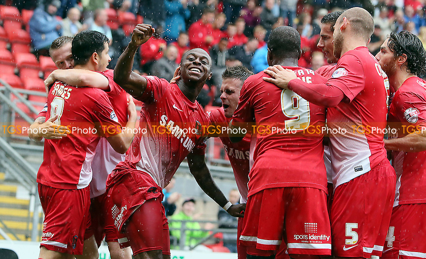 Moses Odubajo celebrates after opening the scoring<br /> - Leyton Orient vs Crewe Alexandra - SkyBet League One Football Match at the Matchroom Stadium, Brisbane Road, Leyton, London - 24/08/13 - MANDATORY CREDIT:Simon O&quot;Connor/TGSPHOTO - Self billing applies where appropriate - 0845 094 6026 - contact@tgsphoto.co.uk - NO UNPAID USE