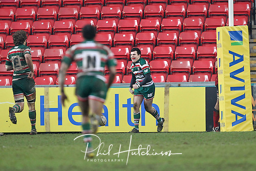 29.01.2012. Leicester, England.  .Tiger's Tom Bowen scores during the friendly Rugby Union game between England U18 and the Leicester Tigers Academy RFC played at the Welford Road Stadium.