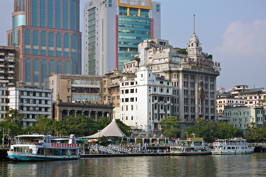 The General Post Office And Sincere Department Store Are Both Overshadowed Somewhat By More Modern Buildings.  The Bund, Guangzhou (Canton).