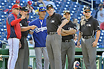 19 September 2012: Washington Nationals Manager Davey Johnson and Los Angeles Dodgers Manager Don Mattingly review the ground rules prior to a game at Nationals Park in Washington, DC. The Nationals defeated the Dodgers 3-1 in the first game of their double-header. Mandatory Credit: Ed Wolfstein Photo