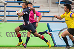 Mohd Khairul Amrie Jafree (l) of Malaysia runs with the ball during the match between Malaysia and Thailand of the Asia Rugby U20 Sevens Series 2016 on 12 August 2016 at the King's Park, in Hong Kong, China. Photo by Marcio Machado / Power Sport Images