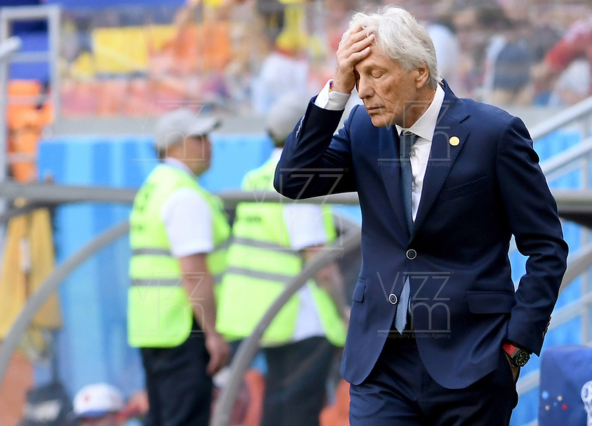 SARANSK - RUSIA, 19-06-2018: Jose Pekerman técnico de Colombia durante partido de la primera fase, Grupo H, contra de Japón por la Copa Mundial de la FIFA Rusia 2018 jugado en el estadio Mordovia Arena en Saransk, Rusia. /  Jose Pekerman coach of Colombia during match of the first phase, Group H, for the FIFA World Cup Russia 2018 played at Mordovia Arena stadium in Saransk, Russia. Photo: VizzorImage / Julian Medina / Cont