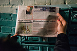 February 21, 2015. Kiev, Ukraine. Local newspapers spread informations about the locations of the anti-aircrafts shelters in the ukrainian capital. Despite being 700km away from Donetsk, some inhabitants of Kiev fear an extension of the conflict to other parts of the country. Credits: Niels Ackermann / Rezo.ch