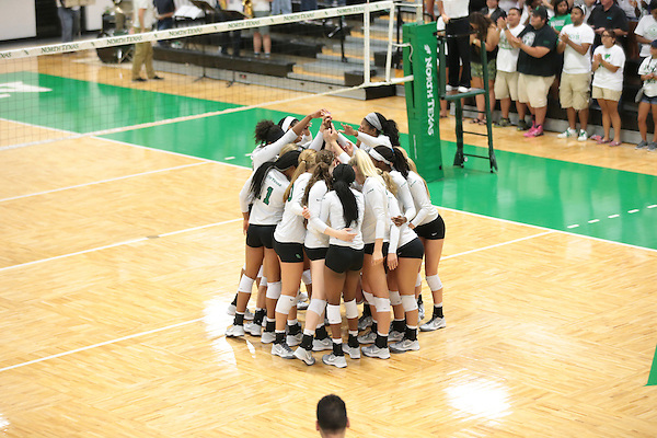 DENTON, TX - SEPTEMBER 22: North Texas Mean Green Volleyball v Baylor Bears at Volleyball Athletic Complex in Denton on September 22, 2015 in Denton, Texas. (Photo by Rick Yeatts)