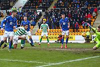 1st March 2020; McDairmid Park, Perth, Perth and Kinross, Scotland; Scottish Premiership Football, St Johnstone versus Celtic; Christopher Jullien of Celtic shot is saved by Zander Clark of St Johnstone