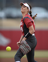 NWA Democrat-Gazette/ANDY SHUPE<br /> Arkansas starter Autumn Storms delivers a pitch against Southeast Missouri Thursday, Feb. 21, 2019, during the first inning at Bogle Park on the university campus in Fayetteville.
