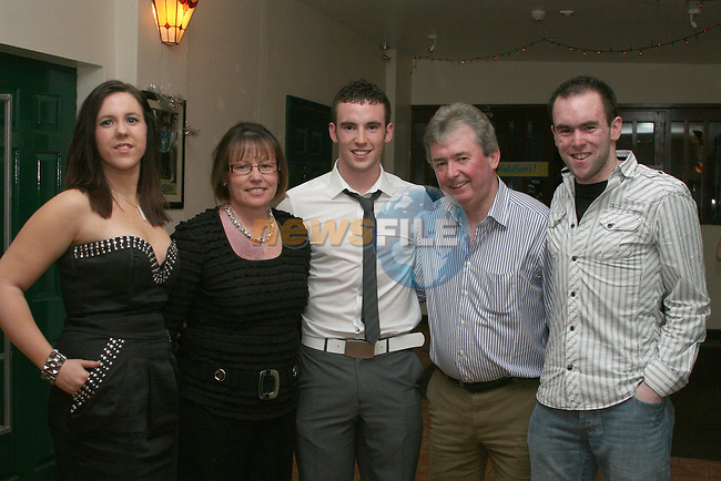 Eamonn Mullen with his family, Niamh, Stella, Seamus and Donal at his 21st in the Rugby Club...Photo NEWSFILE/Jenny Matthews.(Photo credit should read Jenny Matthews/NEWSFILE)....This Picture has been sent you under the condtions enclosed by:.Newsfile Ltd..The Studio,.Millmount Abbey,.Drogheda,.Co Meath..Ireland..Tel: +353(0)41-9871240.Fax: +353(0)41-9871260.GSM: +353(0)86-2500958.email: pictures@newsfile.ie.www.newsfile.ie.FTP: 193.120.102.198.