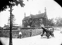 BNPS.co.uk (01202 558833)<br /> Pic: ShaftesburyHistoricalSociety/BNPS<br /> <br /> Pictured: Children in their Sunday best pose in front of Westminster Memorial Hospital in Shaftesbury. The hospital was built in 1874.<br /> <br /> These charming photos reveal everyday life at the turn of the 20th century in a thriving market town later made famous by a TV advert.<br /> <br /> The black and white snapshots of Shaftesbury, Dorset, were taken by Albert Tyler who set up a photography business there in 1901.<br /> <br /> There are various street scenes and also images of the locals in traditional attire, with men in flatcaps and women in bonnets.<br /> <br /> Tyler photographed the busy opening of the town market in 1902, and a garden party where men played croquet.