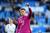 Freddie Woodman of Swansea City applauds the fans at the final whistle during the Sky Bet Championship match between Cardiff City and Swansea City at the Cardiff City Stadium in Cardiff, Wales, UK. Sunday 12 January 2020