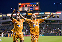 Puerto Rico Islanders Joshua Hansen (20) celebrates his goal with teammate Christopher Nurse (8). The Puerto Rico Islanders defeated the LA Galaxy 4-1 during CONCACAF Champions League group play at Home Depot Center stadium in Carson, California on Tuesday July 27, 2010.