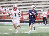 College Park, MD - May 13, 2018: Robert Morris Colonials Carter Yepsen (5) is being defended by Maryland Terrapins Tim Rotanz (7) during the NCAA first round game between Robert Morris and Maryland at  Capital One Field at Maryland Stadium in College Park, MD.  (Photo by Elliott Brown/Media Images International)