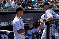 New York Yankees right fielder Aaron Judge (99) talks with Trey Amburgey (94) before a Grapefruit League Spring Training game against the Toronto Blue Jays on February 25, 2019 at George M. Steinbrenner Field in Tampa, Florida.  Yankees defeated the Blue Jays 3-0.  (Mike Janes/Four Seam Images)