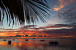 The sun sets over  Layang Layang atoll, Sabah, Malaysia, South China Sea, Pacific Ocean