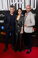 Francis Lorenzo, Megan Montaner and Alain Hernandez attends to La Caza. Monteperdido premiere at Capitol cinema in Madrid, Spain. March 12, 2019. (ALTERPHOTOS/A. Perez Meca)