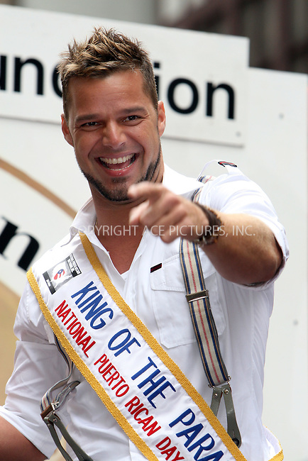 WWW.ACEPIXS.COM . . . . .  ....June 10 2007, New York City....Recording artist Ricky Martin took part in the 50th Anniversary of the National Puerto Rican Day Parade along 5th Avenue in midtown Manhattan.....Please byline: NANCY RIVERA- ACE PICTURES.... *** ***..Ace Pictures, Inc:  ..tel: (646) 769 0430..e-mail: info@acepixs.com..web: http://www.acepixs.com